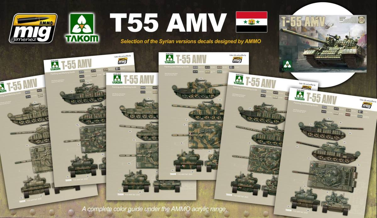 Takom's T-55 AM & AMV colour plates